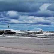 Lake Michigan With Big Wind  Art Print