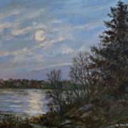 Lake Moonrise Art Print