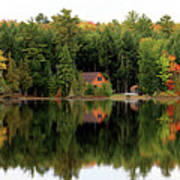 Lake Reflections Panorama 4370 4371 Art Print