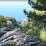 Lake Tahoe And Boulders Art Print