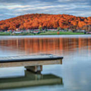 Autumn Red At Lake White Art Print by Jaki Miller