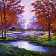 Lakeside Cabin Art Print by David Lloyd Glover