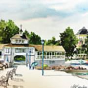 Lakeside Dock And Pavilion Art Print