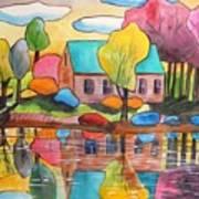 Lakeside Dream House Art Print