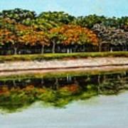 Lakeside Joggers Path Art Print