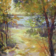 Lakeside Sunglow Art Print