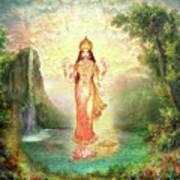 Lakshmi With The Waterfall 2 Art Print