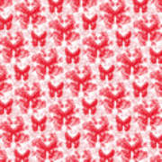 Lalabutterfly Red And White Art Print
