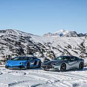 Lamborghini Aventador Sv And Ferrari F12 Tdf Art Print
