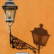 Lamp, Shadow And Burnt Umber Wall, Orvieto, Italy Art Print