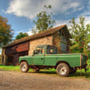 Landrover And The Barn Art Print