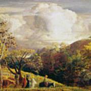 Landscape Figures And Cattle Art Print