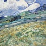 Landscape From Saint Remy At Wheat Fields  Van Gogh Series   By Vincent Van Gogh Art Print