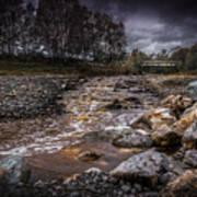 Landscape River And Bridge II Art Print
