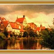 Landscape Scene - Germany. L B With Decorative Ornate Printed Frame. Art Print