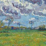 Landscape Under A Turbulent Sky Art Print