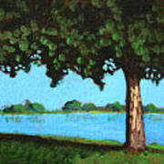 Landscape With A Lake And Tree Art Print