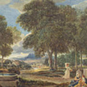 Landscape With A Man Washing His Feet At A Fountain Art Print