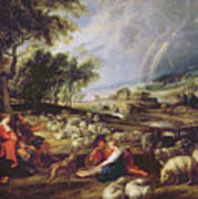 Landscape With A Rainbow Print by Rubens