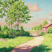 Landscape With A Red Cottage Art Print