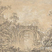 Landscape With A Rustic Bridge Art Print