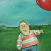 Landscape With Boy And Red Balloon Art Print