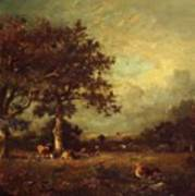 Landscape With Cows 1870 Art Print
