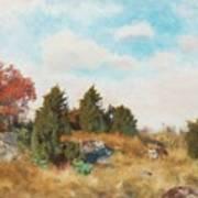 Landscape With Fox Art Print