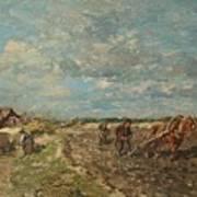 Landscape With Ploughmen Art Print