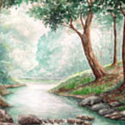 Landscape With River Art Print