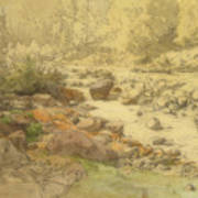 Landscape With Rocks In A River Art Print