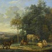 Landscape With Two Donkeys, Goats And Pigs Art Print