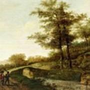 Landscape With Village Path And Men Art Print