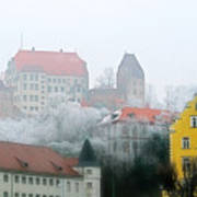 Landshut Bavaria On A Foggy Day Print by Christine Till
