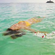 Lanikai Floating Woman Art Print