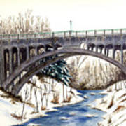 Lanterman Falls Bridge - Mill Creek Park Art Print