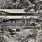 Lanterman's Mill Covered Bridge Black And White Art Print
