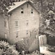 Lanterman's Mill In Mill Creek Park Black And White Art Print