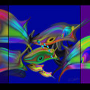 Large Blue Edo Screen  Art Print