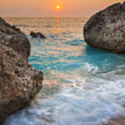 Large Rocks And Wave With Sunset On Paradise Island Greece Art Print