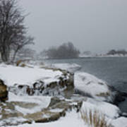 Large Stones Covered With Snow Art Print