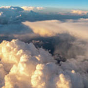 Large White Cloud From Passanger Airplace Window At Sunset Art Print