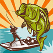 Largemouth Bass Fish And Fly Fisherman Art Print