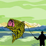 Largemouth Bass Fish Jumping Art Print