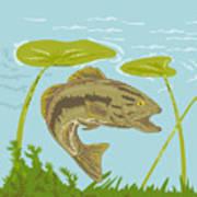 Largemouth Bass Fish Swimming Underwater  Print by Aloysius Patrimonio