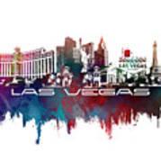 Las Vegas Skyline City Blue Art Print