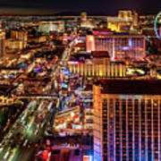 Las Vegas Strip North View Night 2 To 1 Ratio Art Print