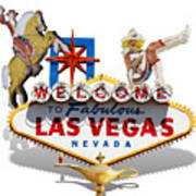 Las Vegas Symbolic Sign On White Art Print