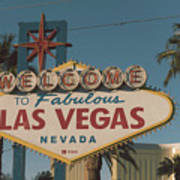 Las Vegas Welcome Sign With Vegas Strip In Background Art Print