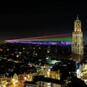 Laser Beams On The Dom Tower In Utrecht 23 Art Print